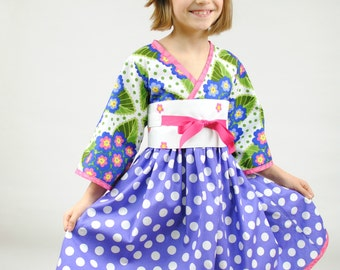 Girl's Kimono Dress, Easter dresses, Kimono, Easter Toddler dress, Japanese kimono, pink, purple, polka dot, size 2 - 8, boutique dresses