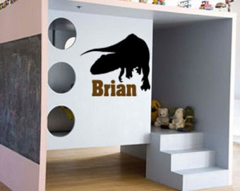 Dino decal-T-Rex decal-Personalized decal-Vinyl wall sticker-Name decal-25 X 28 inches