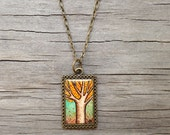 Hand Painted Necklace, Fall Tree - Original Watercolor Painting, Autumn Leaves