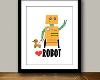 Robot and Puppy Kids' Illustration 8x10 Instant Printable