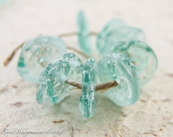 Rustic Aquamarine Blue Green Coin Disks, Handmade Lampwork Beads, Aged Patina, faux Roman Glass