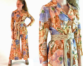 60s MOD Bell Bottoms Pant Suit High Waist PALAZZO Pants Pantsuit & Long Sleeve Jacket Top 1960s Vintage Retro Floral Metallic Print S / M