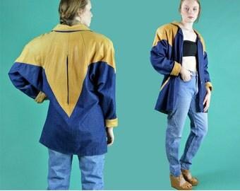 Denim & Leather Jacket / 1980s Vintage Cocoon Coat / Oversized Denim Batwing Duster Jacket / Vintage 80s Denim Jacket M / L