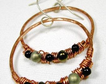 Wire Wrapped Copper Hoop Earrings Beaded Hoop Sterling Silver Earwires