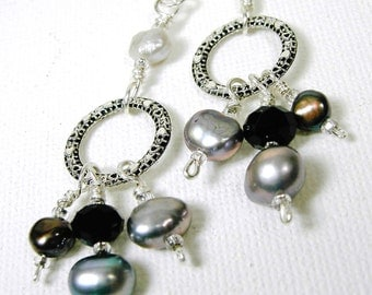 Silver Pearl Earrings Dangle Earrings Wire Wrapped Small Hoop Drop Earrings Sterling Silver Earwires