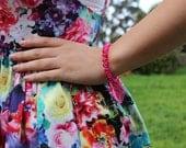 Hot Pink Beaded Crackle Bracelet.