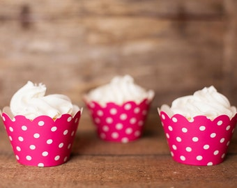 12 Hot Pink Polka Dot Cupcake Wrappers - Hot Pink Cupcake Wrappers - Great for Birthday Parties, Baby Showers & Bridal Showers