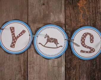 Rocking Horse Baby Shower Decorations - BABY SHOWER Banner - Rocking Horse Theme Baby Shower Decorations in Blue and Brown