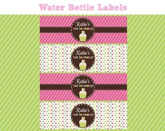 Sweet Shoppe Birthday Party - WATER BOTTLE LABELS - Printable Water Botle Labels - Cupcake Decorations - Diy Birthday Party Drink Wrap