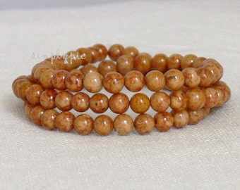 4mm Round Caramel Brown Mottled Riverstone Gemstone Beads 16-Inch Strand