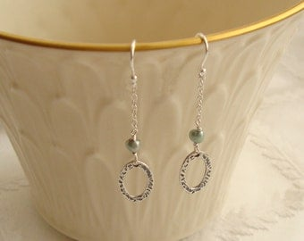 Small Wire Wrapped Sterling Silver Oval Ring and Green Pearl Dangle Earrings