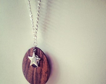 "25% off sale - Necklace - Huge Wooden Style Teardrop Pendant & Silver Star - Thick Silver Chain - ""You Can Do Better"""