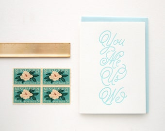 Letterpress Anniversary Card - You Me Us We