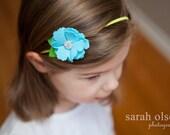 Turquoise Felt Flower - Diamond center- Yellow Skinny Elastic headband