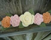 Pastel Roses Garland Halo Felt Flower  Headband