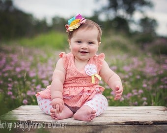 Coral Pink Felt Flower Headband - Matilda Jane Its a Wonderful Parade