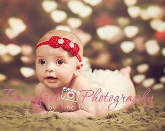 Red Flower Headband, Mini Satin Rosette Trio w/ Rhinestones Stretchy or Hard Headband, Christmas Headband, Newborn Baby Child Girls Headban