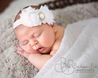 White Flower Headband, Newborn Headband, Baby Headband or Hair Clip, Baptism, Christening, Toddler Child Girls Headband