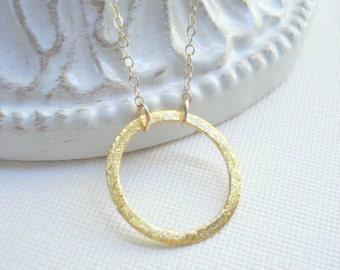 Gold Brushed Circle Necklace Good Karma Eternity Circle Necklace Modern Geometric Jewelry Minimalist Simple Everyday Jewelry