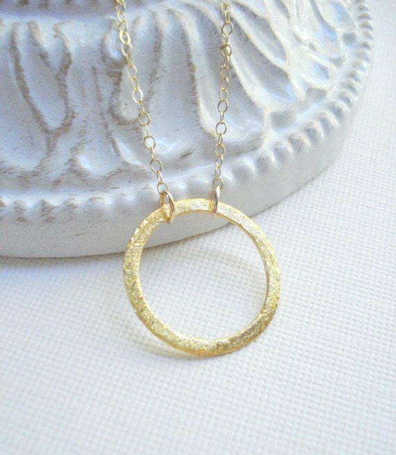 Gold Brushed Circle Necklace Good Karma Eternity Circle Necklace Modern Geometric Jewelry Minimalist Simple Everyday Jewelry