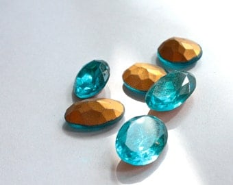 3 Vintage 1950s Aquamarine Oval Rhinestones // 10mm x 15mm // Made in Germany