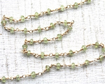 5 Feet, Faceted Peridot Gemstones with Gold Plated Wire  Chain, hand cut and wired, 3mm
