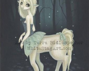Centaur unicorn FAIRY girl Dark FOREST fantasy art print big eye lowbrow -Lila
