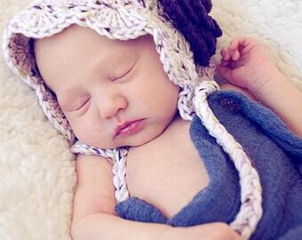 Baby Bonnet, Baby Pixie Hat, Vintage Style Bonnet