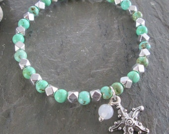 Starfish Bracelet ~  Magnesite & Snow Quartz, Starfish Charm - Beach style, Meditation jewelry