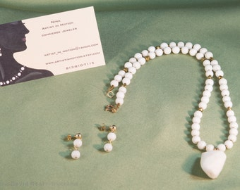 White Quartz and Pyrite Necklace and earrings
