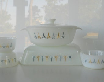 Vintage Fire King Anchor Hocking Candle Glow Bakeware Set