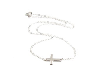 Sterling Sideways Cross Necklace, Horizontal Cross, handcrafted