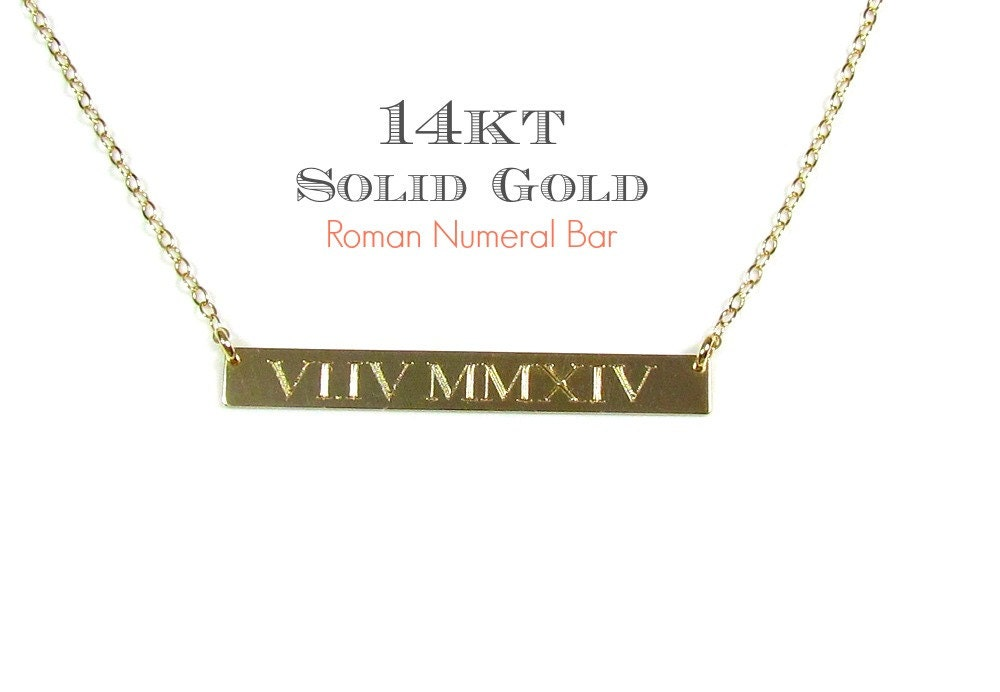 14k solid gold numeral engraved nameplate necklace