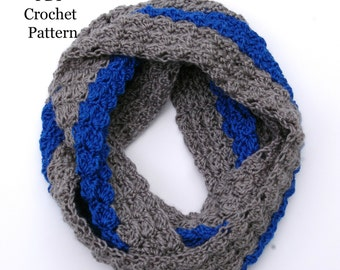 Instant Download Crochet Pattern Infinity Scarf Color Block