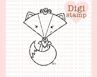 Country Girl Fox Digital Stamp for Card Making, Paper Crafts, Scrapbooking, Hand Embroidery, Invitations, Stickers, Coloring Pages