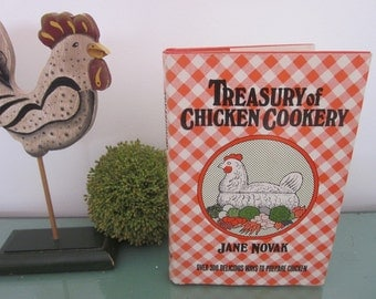 vintage Treasury of Chicken Cookery by Jane Novak, HC DJ First Edition, Red Plaid DJ cover. Country Farmhouse Kitchen Cookbook