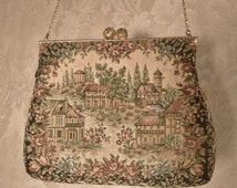 1940s Vintage Walborg Made in France By Hand Petit Point Tapestry Purse