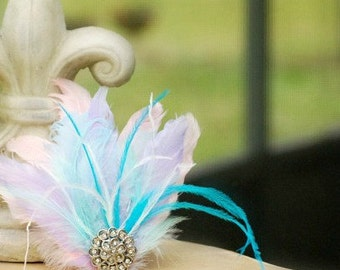 Pastel Feathers Head Piece Fascinator Hair Clip / Head Comb. Etsy Handmade Classy French Shabby Chic, Stylish Statement Bridal Bride Couture