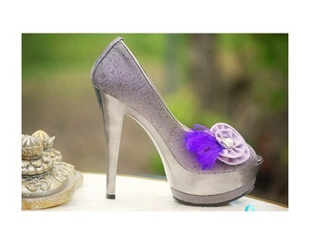 Shoe Clips Purple & Lavender Vintage Zipper Swirl, Couture Vacation Fun Party, Feminine Girly, Bridesmaid Bridal Bride, Friend Birthday Gift