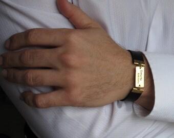 Mens Bracelet. Adjustable Leather Bracelet for Men. Personalized Bracelet. Mens Engraved Bracelet. Mens Personalized, Groomsmen gift