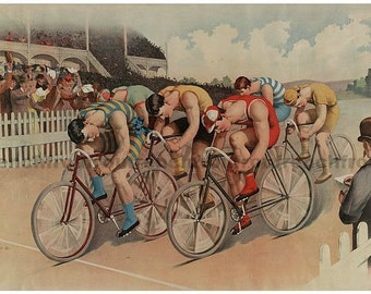 antique victorian lithograph bicycle race illustration digital download