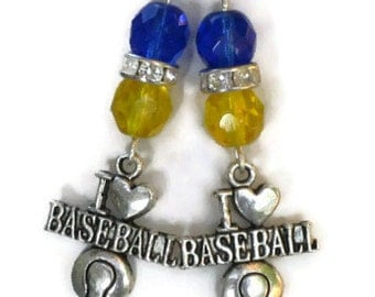 Milwaukee Brewers Inspired Earrings, Blue Yellow Crystals, Sports Jewelry, Baseball Jewelry, Gifts for Women Mom Daughter Sister Grandma