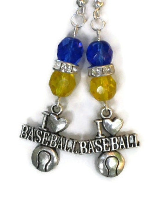 Milwaukee Brewers Inspired Earrings Blue Yellow Crystals