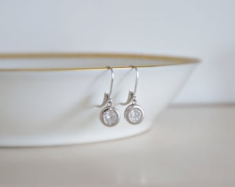 Crystal drop earrings - round diamond earrings - sterling silver cz dangle - leverback earwires - bridal - simple everyday jewelry - Sarah