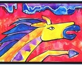 Lightning Horse Watercolor Print, Artist Signed