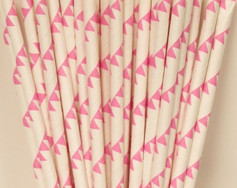 Paper Straws, 50 Pink Party Bunting Paper Straws, Pink Paper Straws, Bulk Paper Straws, Birthday Party Straws, Wholesale Discount Straws