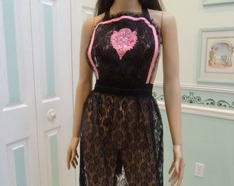 BLACK LACE  APRON : Elegant Sexy hostess apron, hot pink bias tape trim, hot pink beaded applique,extra long ties