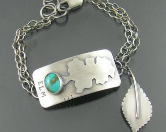 elm tree sterling silver turquoise bracelet - tree bracelet - botanical bracelet - nature bracelet - woodland bracelet - boho jewelry