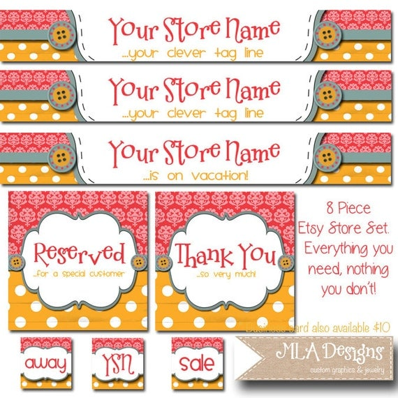 Custom PreMade Etsy Business Banner & Card Set - Buttons