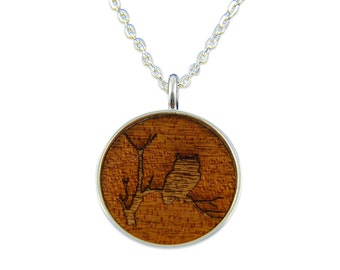 Owl in a Tree Pendant Necklace - Silver Owl and Tree and Dark Wood Necklace - Gwen Delicious Jewelry Designs